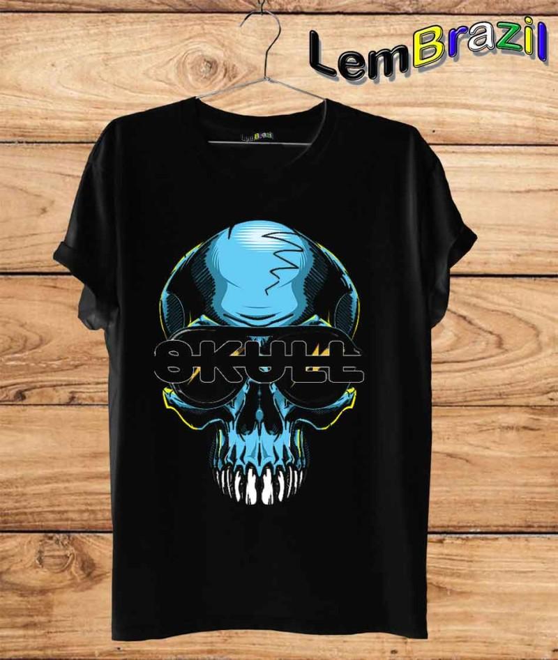 Camiseta Caveira Azul LemBrazil. Camiseta 100% Algodão personalizada com Impressão Digital garantindo maior durabilidade e conforto!