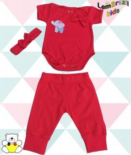 Conjunto Elefante Com Lacinho de Cabelo LemBrazil Kids Conjunto Elefante Com Lacinho de Cabelo LemBrazil Kids,